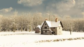 Medieval Farmhouse in Winter. Snow covered rural winter landscape with a Medieval farmhouse and old half-timbered barn, 3d digitally rendered illustration Stock Photo