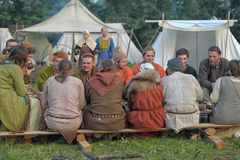 Medieval feast. The festival of historical reconstruction of the early Middle Ages, Volkhov, Russia Stock Photos