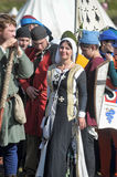 Medieval feast. The festival of historical reconstruction of the early Middle Ages, Volkhov, Russia Stock Photography