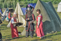 Medieval feast. The festival of historical reconstruction of the early Middle Ages, Volkhov, Russia Stock Photo