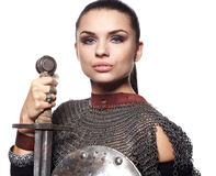 Medieval female knight in armour Stock Photo