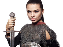Medieval female knight in armour. Portrait of a medieval female knight in armour Stock Photography
