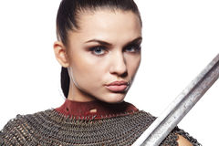 Medieval female knight in armour. Portrait of a medieval female knight in armour Royalty Free Stock Image