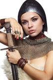 Medieval female knight in armour Stock Image
