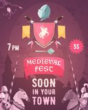 Medieval Fest Announcement Cartoon Poster. With date entry price riders coat of arms heraldic symbols vector illustration Royalty Free Stock Image