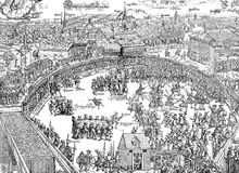Medieval festival in fairground, XVI century. Middle Ages leasure time: the Zwickau shooting festival in 1573, vintage engraving Royalty Free Stock Photos