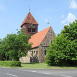 Medieval fieldstone church in Germany. The village church in Wensickendorf north of Berlin was built in 1438. The medieval fieldstone church stands in the middle Royalty Free Stock Photo