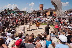 Medieval fight at a historical reenactment festival held in Abal Royalty Free Stock Image