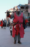Medieval fighter. Venice,Italy-Februray 26th, 2011: Image of a medieval soldier marching in a medieval characters parade in Venice on Sestiere Castello, during Royalty Free Stock Image