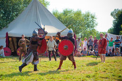 Medieval fights. Kernave, Lithuania - July 10: Medieval fights during International Festival of Experimental Archaeology Days of Live Archaeology in Kernave Royalty Free Stock Image