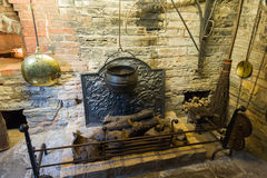 Medieval fireplace Royalty Free Stock Photography