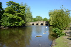Medieval five-arched bridge at Bakewell Royalty Free Stock Image