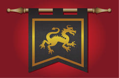 Medieval flag with dragon emblem Stock Photo