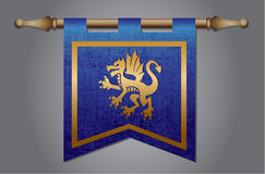 Medieval flag with dragon emblem Royalty Free Stock Photos