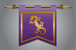 Medieval flag with dragon emblem Royalty Free Stock Photography