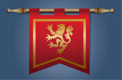 Medieval flag with dragon emblem Royalty Free Stock Images