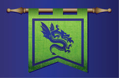 Medieval flag with dragon emblem Stock Photography