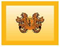 Medieval flag with growling jaguars and eagle shield. Heraldic flag in orange tones Stock Image