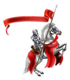 Medieval Flag Knight on Horse Royalty Free Stock Images