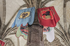 MEDIEVAL FLAGS HANG ON TOWERS Stock Images