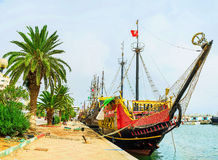 The medieval  flotilla of Sousse. SOUSSE, TUNISIA - SEPTEMBER 6, 2015: The  flotilla of the medieval worships moored next to the central city promenade, on Stock Photo