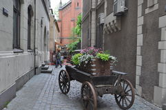Medieval flower cart in Riga, Latvia Royalty Free Stock Photography