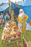 Medieval food being prepared. Royalty Free Stock Image