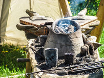 Medieval field forge with tools Royalty Free Stock Photos