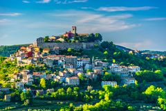 Medieval fort in Motovun, Istria region. Scenic view at idyllic medieval town on hill in Croatia, Motovun town in Istria stock photo