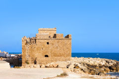 Medieval fort of Paphos bay, Cyprus. Mediterranean sea royalty free stock image