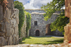 Medieval fort ruin Sweden Royalty Free Stock Images