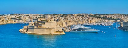 Fort St Angelo and Marina of Vittoriosa, Malta. The medieval Fort St Angelo and marina of Vittoriosa are the main landmarks of Birgu - the medieval fortified Royalty Free Stock Photography