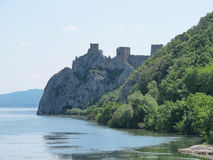 Medieval fort on a stoned hill over the River Danube Royalty Free Stock Image
