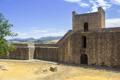 Medieval fort wall in the Spanish Moor town of Ronda, Spain Stock Images