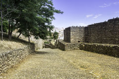 Medieval fort wall in the Spanish Moor town of Ronda, Spain Stock Photos
