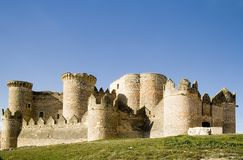 Medieval Fortification. Belmonte Castle (Castillo de Belmonte) in Belmonte, Cuenca province, Castilla La Mancha, Spain.  Located approximately 150km southeast of Royalty Free Stock Image