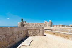 Medieval fortification. Maniace Castle fortification in Syracuse, Sicily, Italy Royalty Free Stock Photos