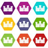 Medieval fortification icon set color hexahedron. Medieval fortification icon set many color hexahedron isolated on white vector illustration Stock Photo