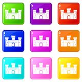 Medieval fortification icons 9 set. Medieval fortification icons of 9 color set isolated vector illustration Royalty Free Stock Image