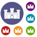 Medieval fortification icons set. In flat circle red, blue and green color for web Stock Photo