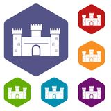 Medieval fortification icons set hexagon. Isolated vector illustration Royalty Free Stock Image