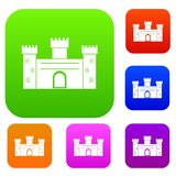 Medieval fortification set color collection. Medieval fortification set icon color in flat style isolated on white. Collection sings vector illustration Stock Photo
