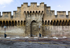 Medieval fortification. Stone rampart wall surrounding the city of Avignon, France Stock Photo
