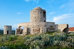 Medieval fortification tower in Bonifacio. A medieval fortification tower in Bonifacio Stock Photos