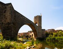 Medieval fortifications and the bridge. Besalu Royalty Free Stock Photography