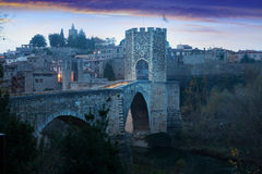 Medieval fortifications and bridge. Besalu Royalty Free Stock Images