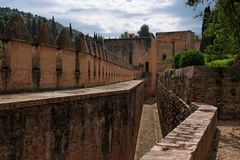 Medieval Fortifications In Alhambra Castle Stock Images