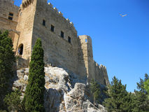 Medieval fortifications on top of the rock. stock photos