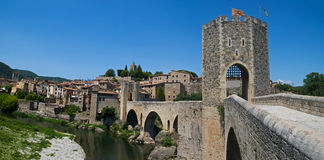 The medieval fortified bridge in Besalu Stock Photos