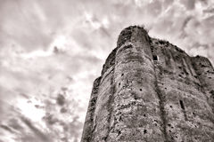 Medieval Fortified Castle Old Dungeon Stone Tower Stock Image